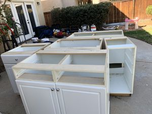 Kitchen cabinets used in white must have to go for Sale in Palmdale, CA