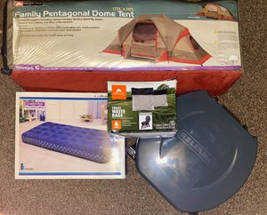 Ozark tent and portable toilet waist bags and air mattresses for Sale in Pueblo, CO