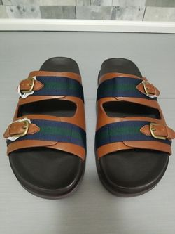 Polo Ralph Lauren Roche Leather Sandals Brown Green Mens Size 12D 14557 Rare New for Sale in North Las Vegas,  NV