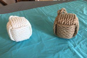 Decorative Rope Balls 1 White, 1 Tan for Sale in Riverton, UT