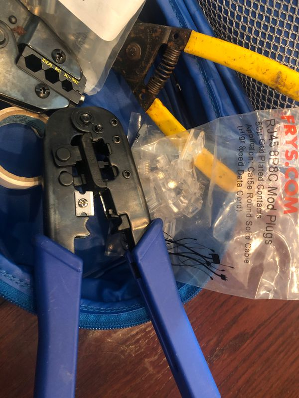 Ideal ratchet connecting crimper +2nd connector crimper plus plenty of housing and RJ 45+ wire stripper