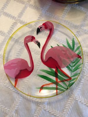 Charming flamingo glass plates (10) for Sale in San Diego, CA