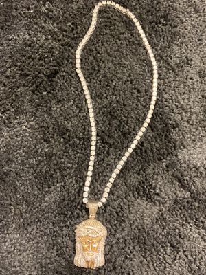 18' Tennis Chain With Gold Iced Out Jesus Piece for Sale in Columbia, SC