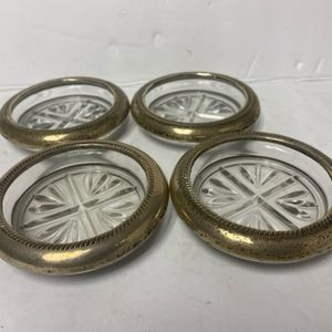 Vintage Set 4 FB Rogers Sterling Silver Glass Coasters for Sale in San Dimas, CA