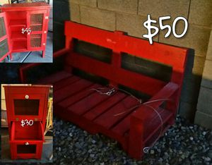 Red Cabinets and Porch Swing for Sale in Phoenix, AZ
