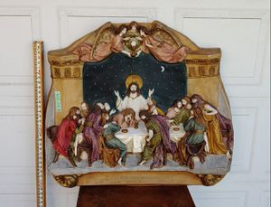 Last supper Jesus Christ dinner table Large fiberglass 3D wall hanging statue. Very unusual with moon starry night in b for Sale in Santa Ana, CA