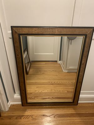 Large Burled Wood with black and gold trim mirror for Sale in Los Angeles, CA