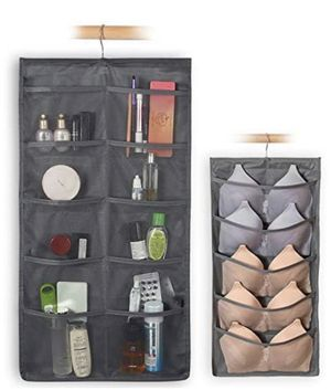 Closet & Door Hanging Organizer with Rotating Metal Hanger, Mesh Pockets and Dual Sided Wall Shelf Wardrobe Storage Bags for Bra Sock Shoe Jewelry Ga for Sale in Piscataway, NJ