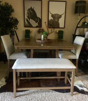 Counter height Pub dining table Set with 3 chairs and bench for Sale in San Diego, CA