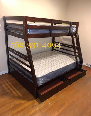 Expresso Full/Twin Bunkbed with mattresses Included for Sale in Fresno, CA