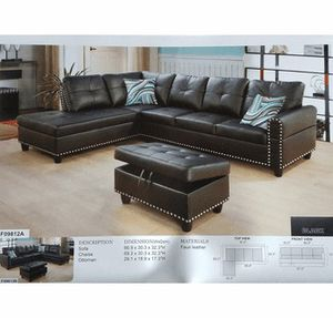 Faux leather black sectional with ottoman has storage with nail heads (new) for Sale in Sunnyvale, CA