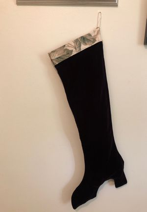 Extra long, deep purple velvet, high heel, Christmas stocking for Sale in Columbia, MO