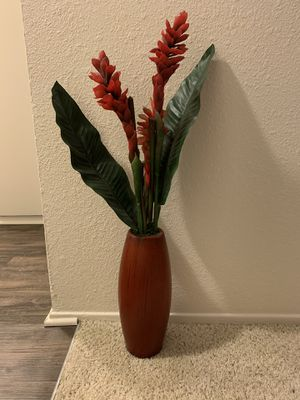 Red Flower Vase (fake plant) for Sale in Davis, CA