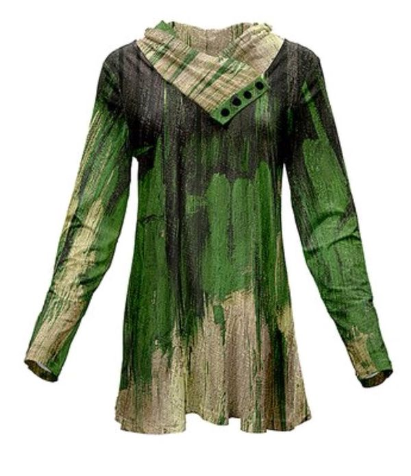 Green & Cream Abstract Cowl Neck Tunic - L
