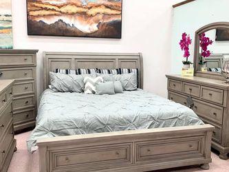 Lettner Light Gray Storage Platform Sleigh Bedroom Set (Queen and King Bed Frame for Sale in Austin,  TX