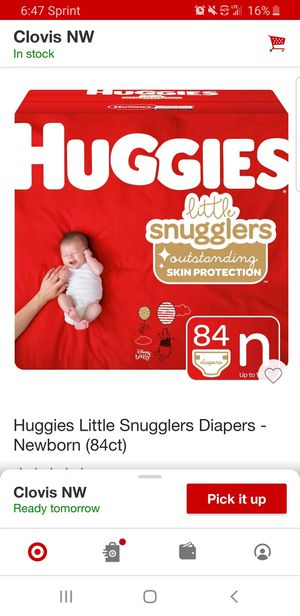 Huggies Little Snugglers diapers Newborn 84 count for Sale in Clovis, CA
