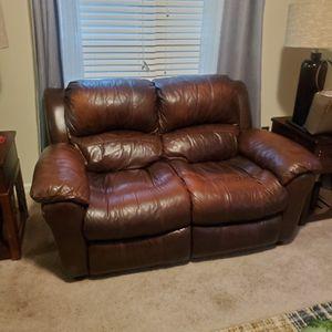 Two Vercelli Brown Leather Reclining Sofa for Sale in Hampton, GA