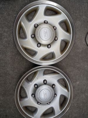 Set of 4 wheels tires rims cover original ford wheels cover for a ford van econoline or any 16 inch ford rims for Sale for sale  Queens, NY