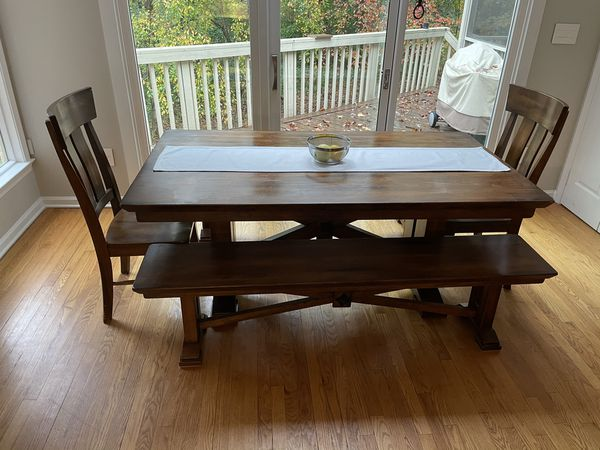Wooden table with 2 benches and 2 chairs