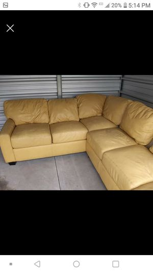 Real leather sectional couch for Sale in Canton, IL