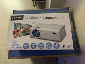 "GPX 1080p Projector & 120""Screen for Sale in Commerce, CA"