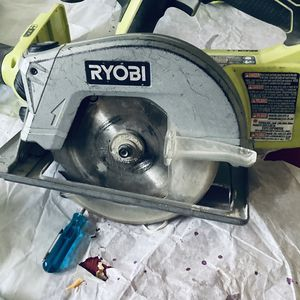 RYOBI Nail Gun -skill Saw And A Very Nice Antique Podium Style Kitchen Table for Sale in Albuquerque, NM