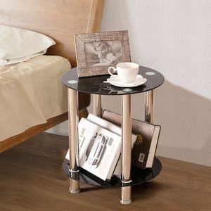 Round Black Table End Table Side Table Coffee Table Sofa Tempered Glass Small 39x39x45(H) for Sale in Ontario, CA