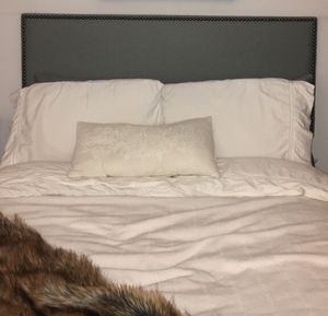 Headboard - Full - Gray fabric with studs for Sale for sale  New York, NY
