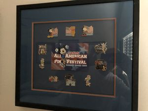 """Disney DLR/DCA Disneyland Framed """"Mickey's All American Pin Festival"""" Pin Set for Sale in Mission Viejo, CA"""