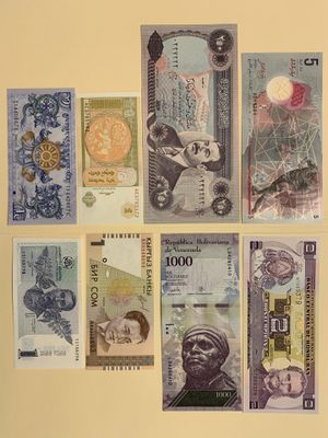 8 PCS World Mix Banknote Set for $12 Maldives (Polymer) Iraq (Saddam Hussein) Venezuela Georgia Mongolia Bhutan for Sale in Smyrna, GA
