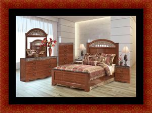 11pc Ashley cherry bedroom set with mattress for Sale in Rockville, MD