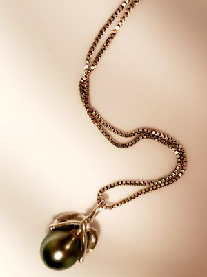 Black Pearl 925 Italian Silver Necklace for Sale in San Diego, CA