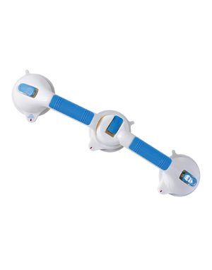 DMI Shower Grab Bar, Swivel Bathroom Safety Grab Bar, Suction Cup Grab Bar with Safety Indicator, Easy No Tool Assembly, 24 Inches, Blue and White for Sale in Norco, CA