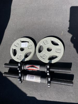 """CAP 14"""" Threaded Standard Dumbbell Handles Set (2) 1"""" Black with two 5lb plates for Sale in Bellevue, WA"""
