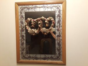 REDUCED TO$20. WOOD FRAMED MIRROR WITH STAINED GLASS BORDER for Sale in Youngtown, AZ