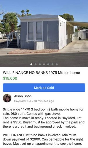 Mobile home for sale. Financing available. no banks!!! for Sale in Hayward, CA