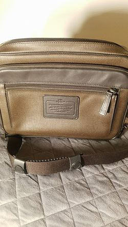 NWOT Men's Brown Leather Canvas Coach New York Messenger Bag for Sale in Austin,  TX