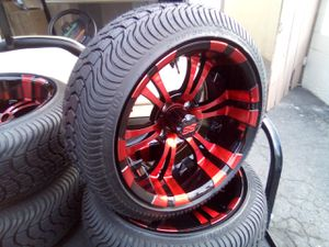 """12"""" vampire black/red rims 215/35-12 golf cart rims and tires for Sale in San Diego, CA"""