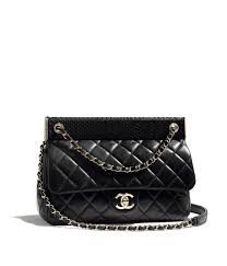 Chanel paint lambskin small classic flap handbag black bag