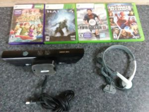 Xbox 360 Kinect bundle with New headphones plus games for Sale in Washington, DC