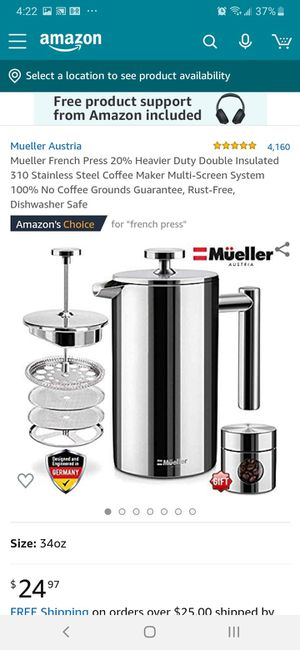 Müeller Austria French Press Coffee Maker for Sale in Greenwood, IN