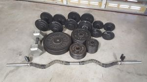 Weight Set - 235 Pounds plus Curl Bar for Sale in Greenacres, FL