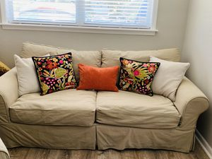 Restoration Hardware Grand Scale Rolled Arm Slipcovered Sofa and Chair, Down filled cushions for Sale in Tampa, FL