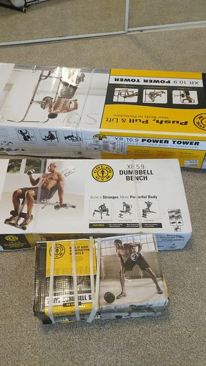Complete gym set dumbbell bench weights for Sale in Houston, TX