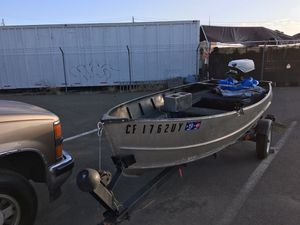 12 Feet Aluminum Boat & Trailer and 55hp trolling motor $900 for Sale in Sacramento, CA