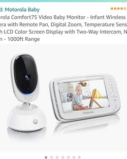 Motorola Comfort75 Video Baby Monitor - Infant Wireless Camera with Remote Pan, Digital Zoom, Temperature Sensor - 5 Inch LCD Color Screen Display wit for Sale in Brentwood,  CA