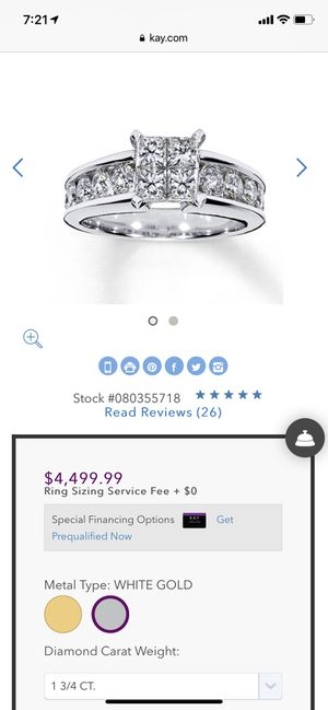 14k white gold princess cut 1 3/4 Tw Kay Jewelers size 7 diamond engagement ring for Sale in Greenwood, MS
