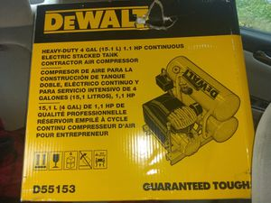 DeWalt heavy Duty 4 Gallon 1.1 HP Continuous Electric Stacked Tank Contractor Air Compressor. Model number D55153 for Sale in Seattle, WA