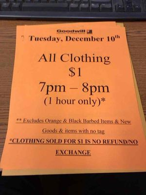 Tuesday, December 10, 7 PM to 8 PM clothing $1 for Sale in Dearborn, MI