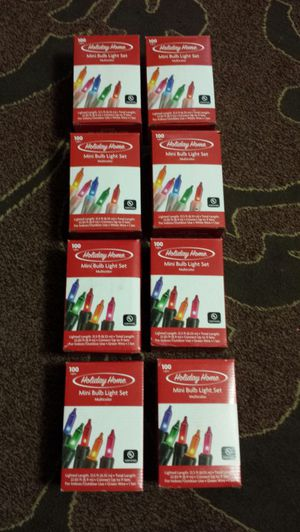 Holiday 8 boxes of multicolor christmas lights, 4 white wire, 4 green wire. All new $20 for Sale in Everett, WA